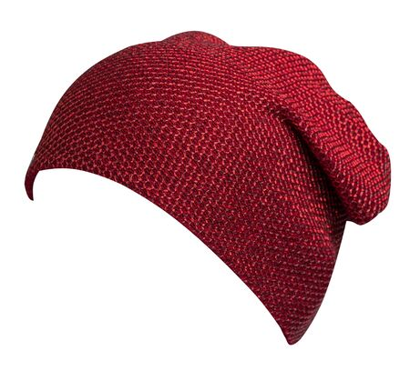 Women's red hat . knitted hat isolated on white background. Stock Photo