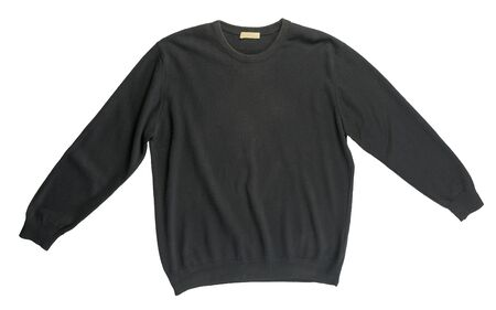 knitted black sweater isolated on a white background. men's sweater under the neck top view . Casual style