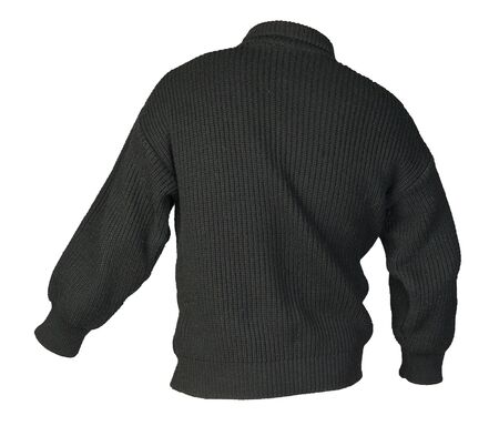 knitted black sweater with a zipper isolated on a white background. mens sweater under the neck . Casual style