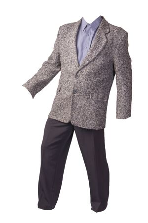 male gray jacket, purple shirt and black trousers isolated on a white background. formal suit