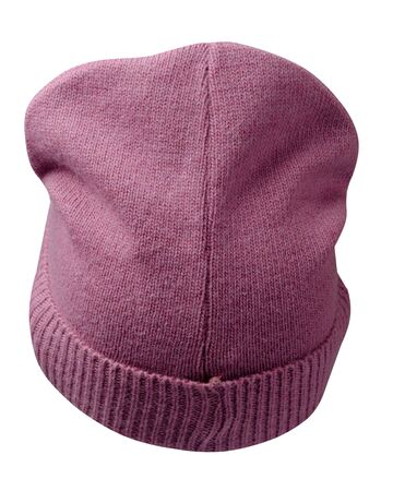 Women's pink hat . knitted hat isolated on white background.