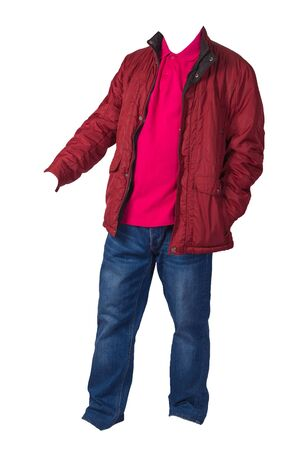 red jacket,crimson shirt and blue jeans isolated on white background. casual fashion clothes