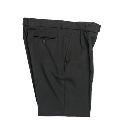 black pants isolated on white background.fashion men's trousers top view Archivio Fotografico