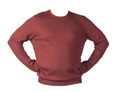 knitted dark red sweater with a zipper isolated on a white background. mens sweater under the neck . Casual style