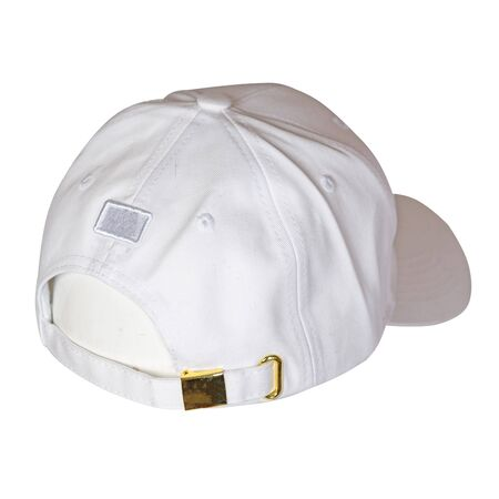 white baseball cap isolated on a white background. sporty style. summer hat