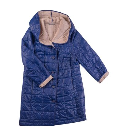 female blue beige coat with a hood Isolated on a white background. autumn women's coat not wet from the rain top view
