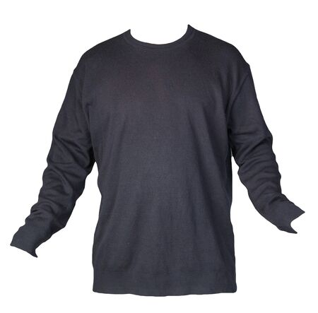 knitted dark blue sweater r isolated on a white background. men's sweater under the neck . Casual style