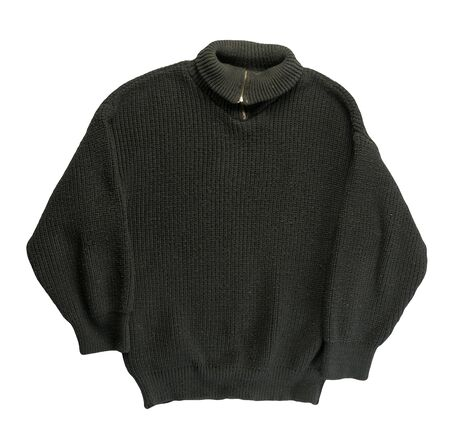 knitted black sweater isolated on a white background. men's sweater under the neck top view . Casual style Stock Photo