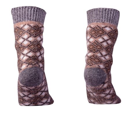 woolen brown,beige,gray, socks isolated on a white background. winter accessories
