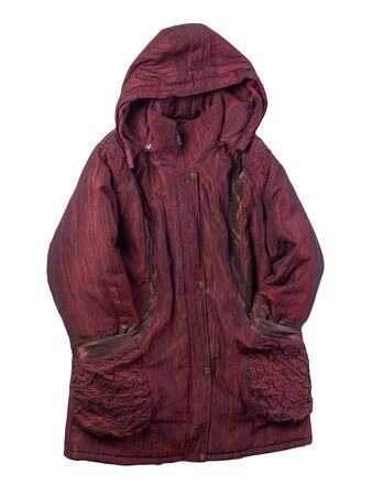 female dark red coat with a hood Isolated on a white background. autumn womens coat not wet from the rain top view