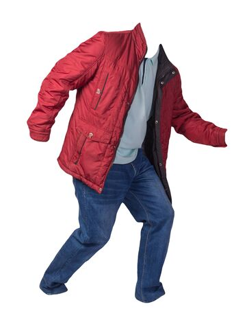 red jacket,turquoise shirt and blue jeans isolated on white background. casual fashion clothes