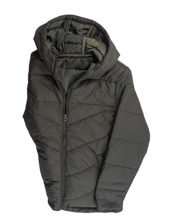 Men's hakki jacket in a hood isolated on a white background. Windbreaker jacket top view. Casual style