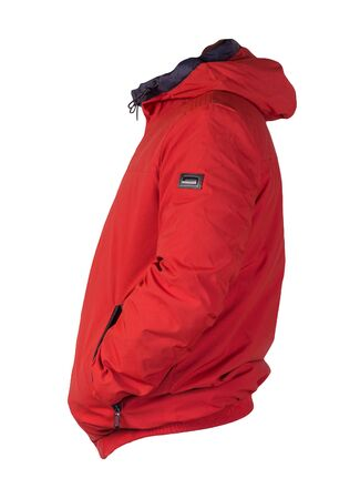 Male red jacket with a zipper with a hood isolated on a white background. Windbreaker jacket. Casual style