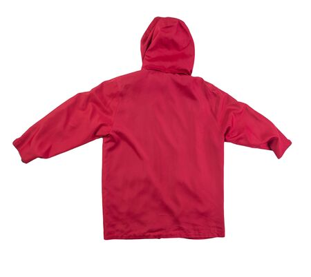 female red coat with a hood Isolated on a white background. autumn women's coat not wet from the rain top view Banque d'images