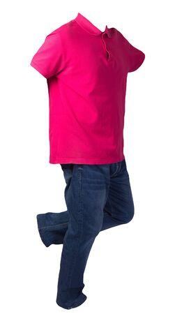 men's red t-shirt with button-down collars and blue jeans isolated on white background.casual clothing