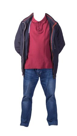 blue jacket, dark red shirt and blue jeans isolated on white background. casual fashion clothes