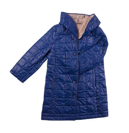 female blue coat with a hood Isolated on a white background. autumn women's coat not wet from the rain top view