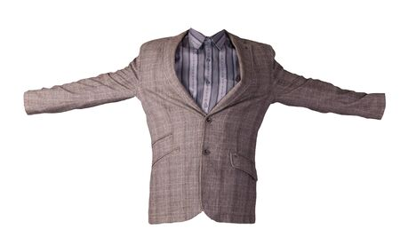 men brown jacket with buttons with gray shirt isolated on a white background. Casual style