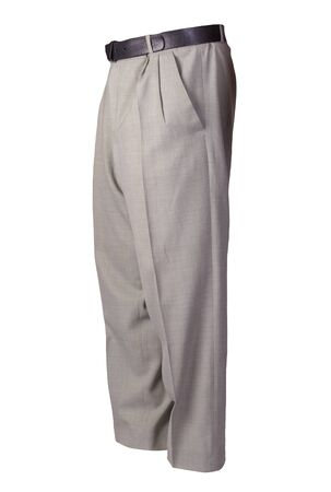 light gray pants isolated on white background.fashion men's trousers Archivio Fotografico