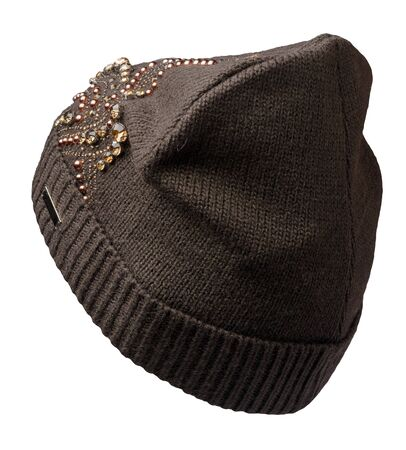 Women's brown hat . knitted hat isolated on white background. Stock Photo