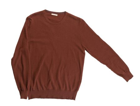 knitted dark red sweater isolated on a white background. men's sweater top view . Casual style