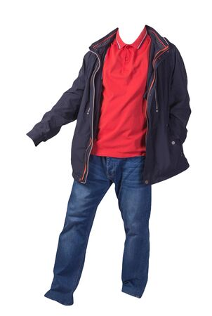 blue jacket,orange shirt and blue jeans isolated on white background. casual fashion clothes Stock Photo