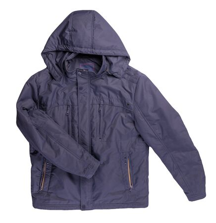 Male blue jacket with a zipper with a hood isolated on a white background. Windbreaker jacket. Casual style