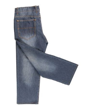 gray jeans isolated on white background.Beautiful casual jeans top view .