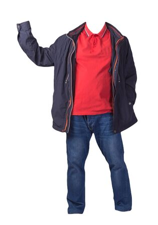 blue jacket,orange shirt and blue jeans isolated on white background. casual fashion clothes
