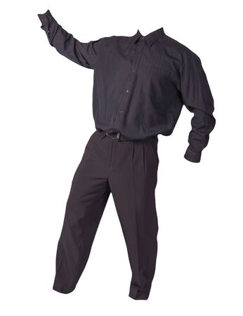 men's black shirt and black pants isolated on white background. fashion clothes Archivio Fotografico