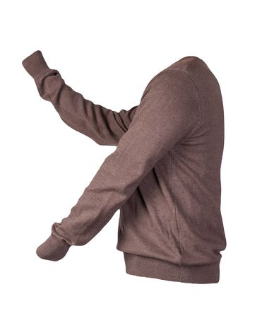knitted brown sweater isolated on a white background. men's sweater under the neck . Casual style