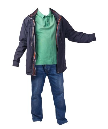 blue jacket,green shirt and blue jeans isolated on white background. casual fashion clothes