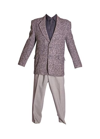 male gray jacket, black shirt and gray trousers isolated on a white background. formal suit