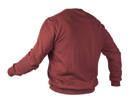 knitted dark red sweater with a zipper isolated on a white background. men's sweater under the neck . Casual style