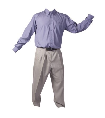 men's purple shirt and light gray pants isolated on white background. fashion clothes