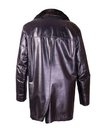 leather male sheepskin coat isolated on white background.black leather men's jacket with fur Archivio Fotografico