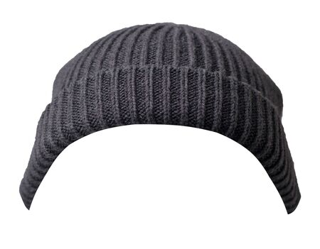 Docker knitted graphite hat isolated on white background. fashionable rapper hat. hat fisherman