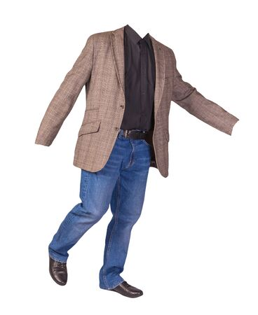 men's button light brown jacket, men's blue jeans, leather black shoes and a black shirt isolated on white background