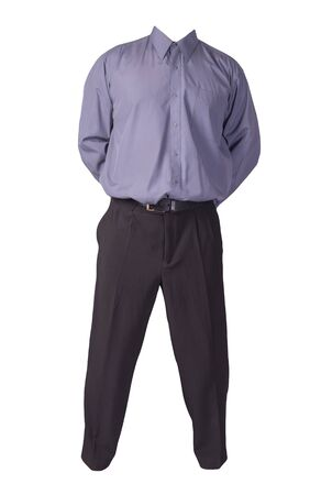 men's purple shirt and black pants isolated on white background. fashion clothes