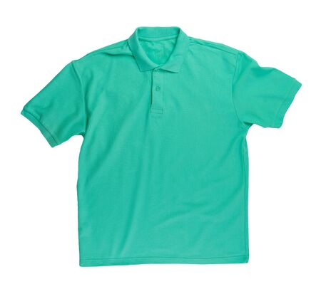 short sleeved green t-shirt with button-down collars isolated on white background cotton shirt . Casual style Фото со стока