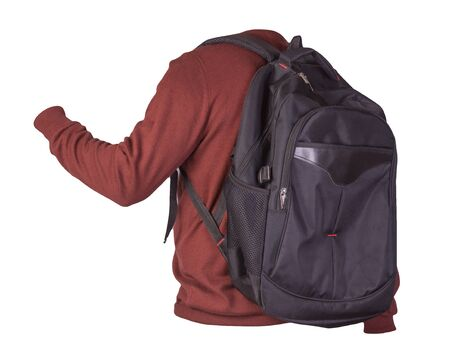 black backpack dressed in a knitted red sweater isolated on a white background. backpack and male sweater view from the back