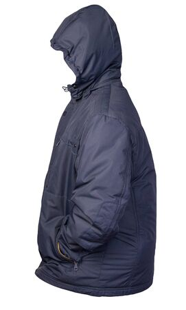 Men's blue jacket in a hood isolated on a white background. Windbreaker jacket. Casual style Stock Photo