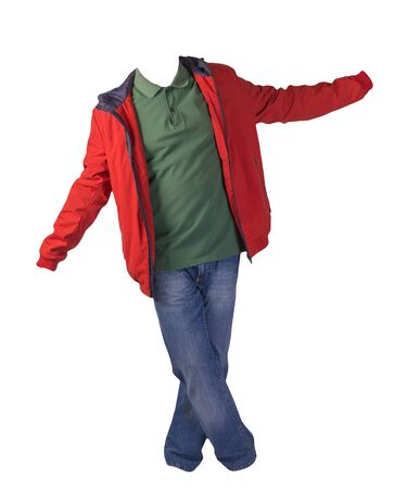 red jacket with zipper,dark green shirt and blue jeans isolated on white background. casual fashion clothes Stock Photo
