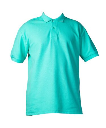 short sleeved green t-shirt with button-down collars isolated on white background cotton shirt . Casual style