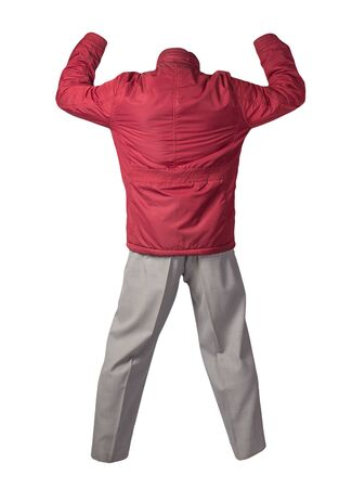 men's red  jacket and light gray pants  isolated on white background. men's autumn clothes Archivio Fotografico