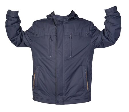 Men's blue jacket in a hood isolated on a white background. Windbreaker jacket. Casual style Imagens