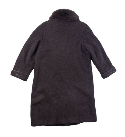 Female woolen dark gray coat isolated on a white background. women's coat cut a trapeze