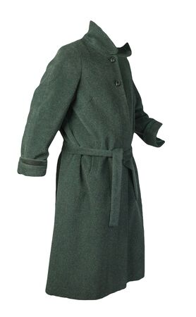 Female woolen dark green coat with a hood isolated on a white background. women's coat cut a trapeze