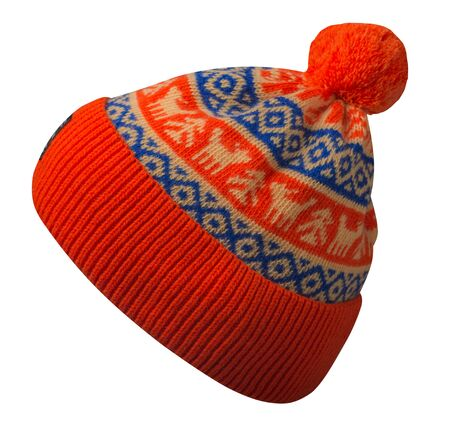 knitted red blue and yellow hat isolated on white background.hat with pompon .