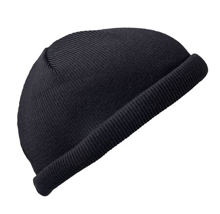 Docker knitted black hat isolated on white background. fashionable rapper hat. hat fisherman